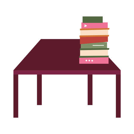 table with books design, Home room decoration interior living building apartment and residential theme Vector illustration