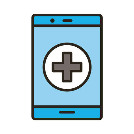 smartphone with medical cross symbol line and fill style vector illustration design