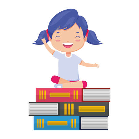 happy girl sitting on books learning vector illustration