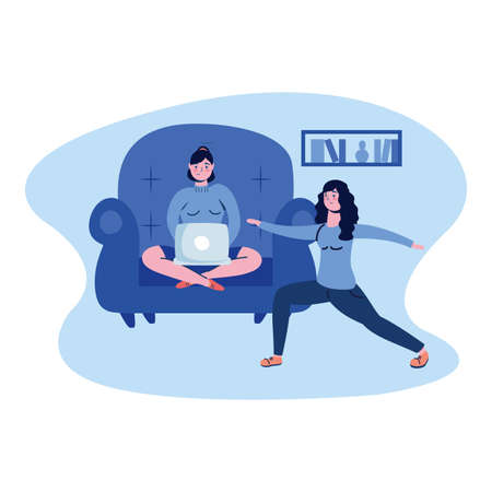 Woman with laptop on chair and other doing yoga design of Work from home theme Vector illustration