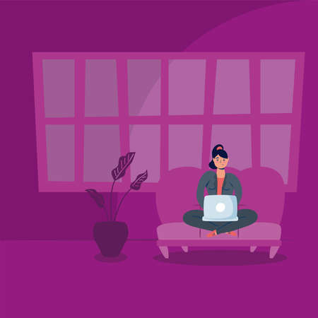 woman using laptop in sofa stay at home campaign vector illustration design