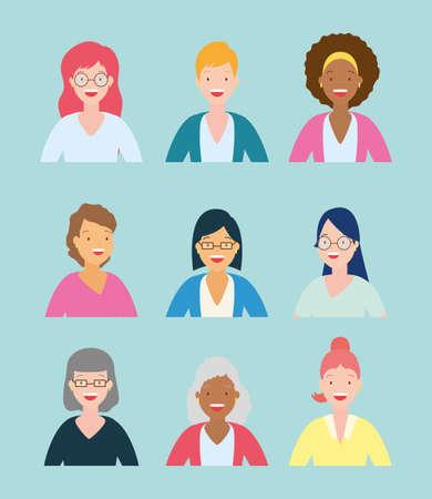 diversity woman people group portrait avatars vector illustration