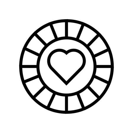 casino chip with heart isolated icon vector illustration design