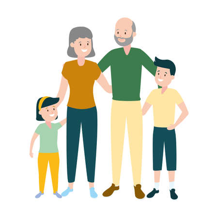 grandparents and granddaughter grandson vector illustration design