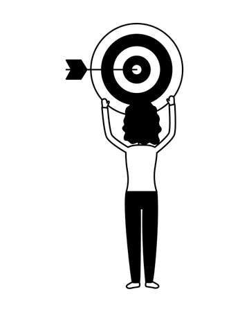 woman with target marketing social media vector illustration Stock Illustratie