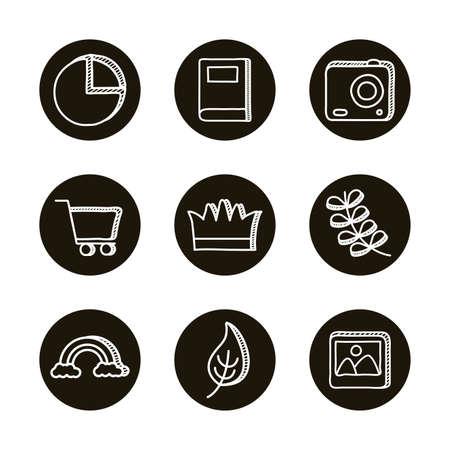 bundle of doodle set icons vector illustration design