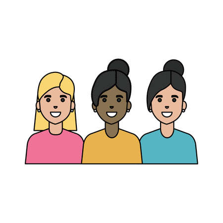 Avatar of a fashion women design, Girls females person human and beauty theme Vector illustration 矢量图像