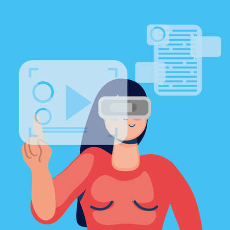 woman technology with virtual reality mask vector illustration design Stock Illustratie