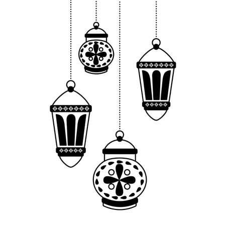 hanging lanterns decoration on white background vector illustration