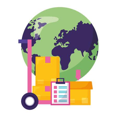 world cardboard boxes clipboard handcart fast delivery vector illustration 矢量图像