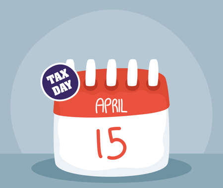 tax day with calendar reminder vector illustration design  イラスト・ベクター素材