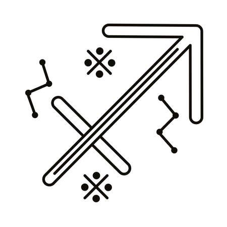 sagittarius zodiac sign symbol line style icon vector illustration design