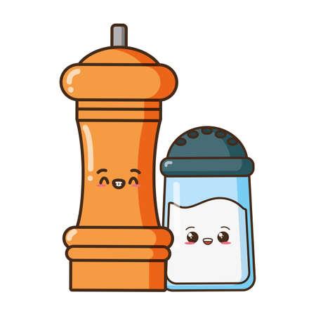 salt and pepper food cartoon vector illustration