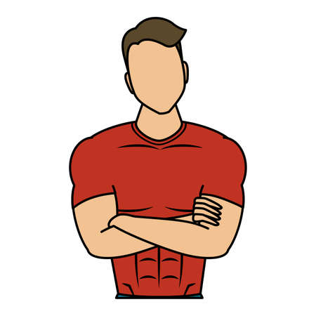 young man athlete character healthy lifestyle vector illustration design