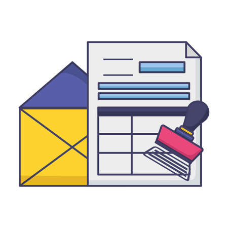 tax payment document invoice paid stamp vector illustration  イラスト・ベクター素材