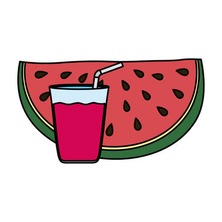 fresh watermelon with juice fruit vector illustration design