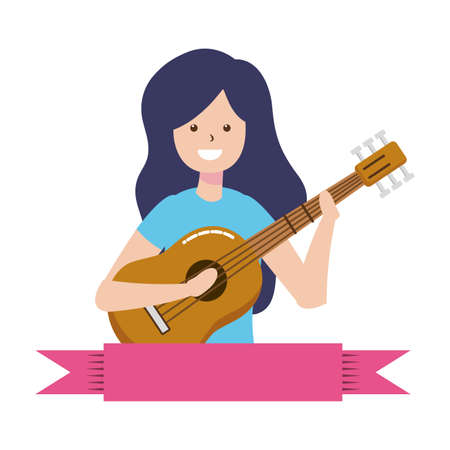 woman playing guitar - my hobby vector illustration Vectores