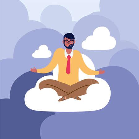 elegant business man with lotus position in cloud vector illustration design
