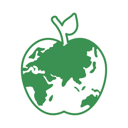 world planet earth with apple shape vector illustration design