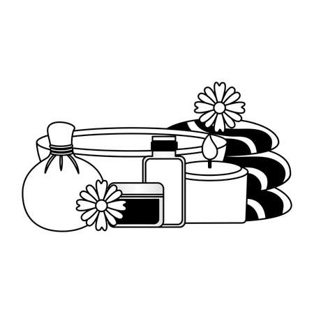 spa treatment therapy herbal candle compress stone towels aromatherapy vector illustration