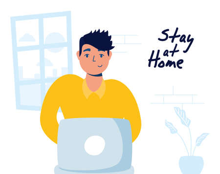 man using laptop stay at home campaign vector illustration