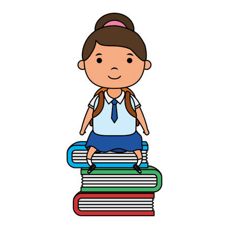 cute little student girl seated in books vector illustration design