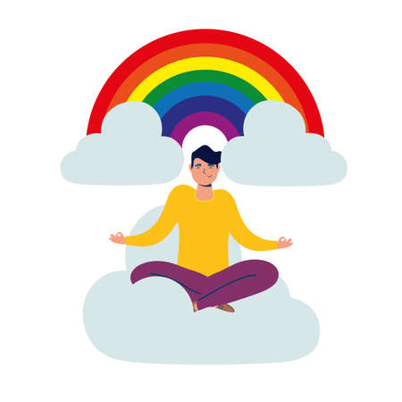 elegant business man with lotus position in cloud with rainbow vector illustration design Vectores