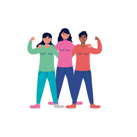 group of interracial young women characters vector illustration design