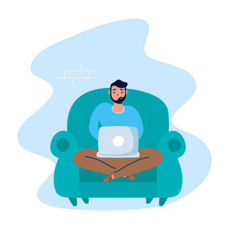 man using laptop in sofa stay at home campaign vector illustration