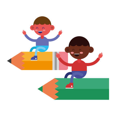 little students boys flying in pencils comic characters vector illustration design Vectores