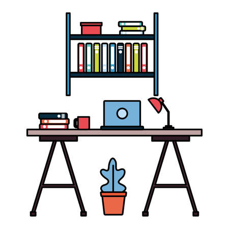 office desk bookshelf laptop workplace vector illustration