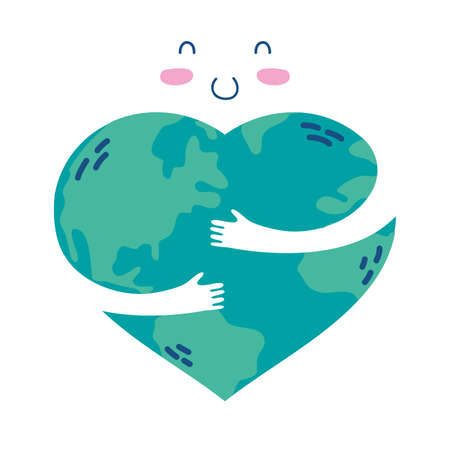 world planet earth hugging love vector illustration design
