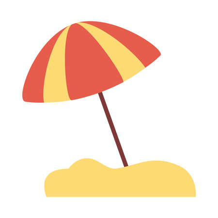 beach umbrella flat style icon vector illustration design