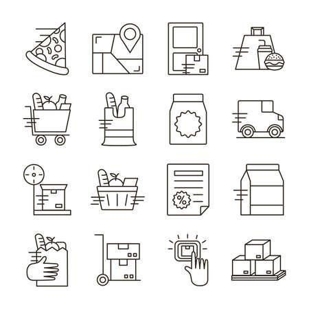 delivery food groceries service set icons vector illustration design