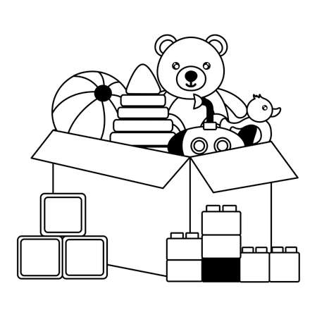 kids toys bear ball pyramid ball duck submarine box vector illustration Ilustracja