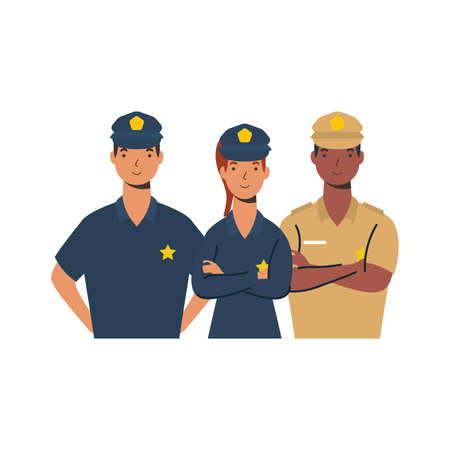 police men and woman design, Workers actions working occupation jobs proffesional employee service and labor theme Vector illustration 일러스트