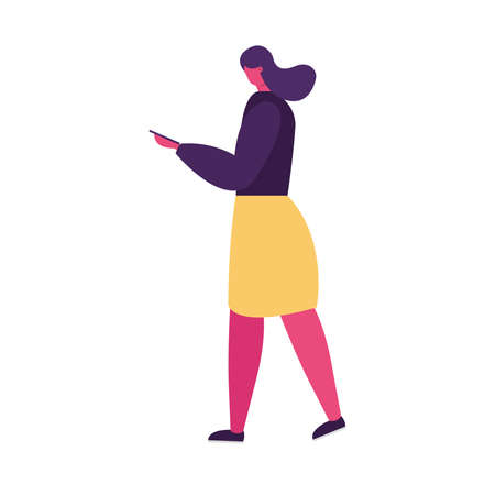 young woman walking using smartphone character vector illustration design