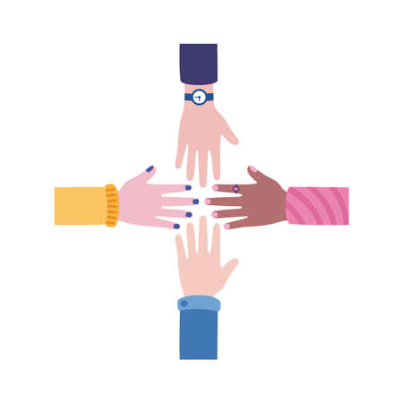 diversity hands human team flat style icon vector illustration design