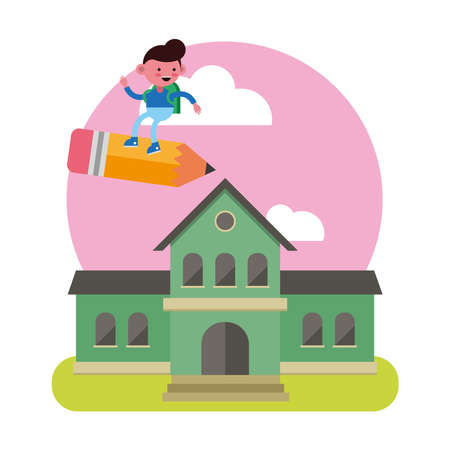 little student boy flying in pencil in the shool comic character vector illustration design