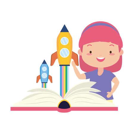 girl reading textbook fantasy - world book day vector illustration