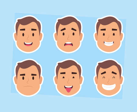 group of man faces characters vector illustration design Vectores