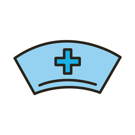 nurse hat with medical cross line and fill style icon vector illustration design 矢量图像
