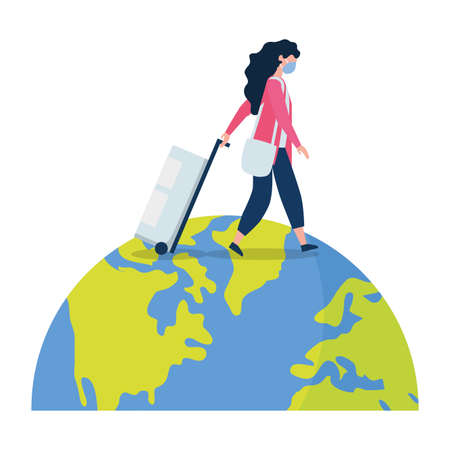 Woman with medical mask and bag on world design, Cancelled flights travel and airport theme Vector illustration