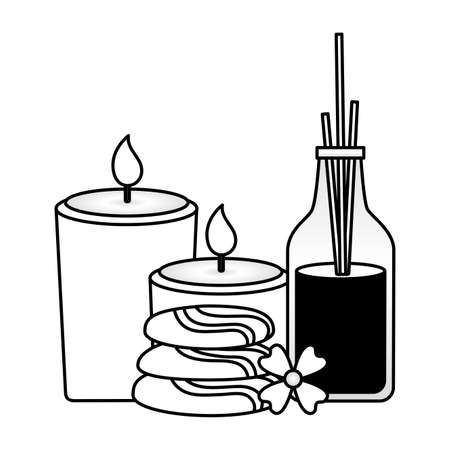 aromatherapy sticks stones candles flower spa treatment therapy vector illustration Vectores
