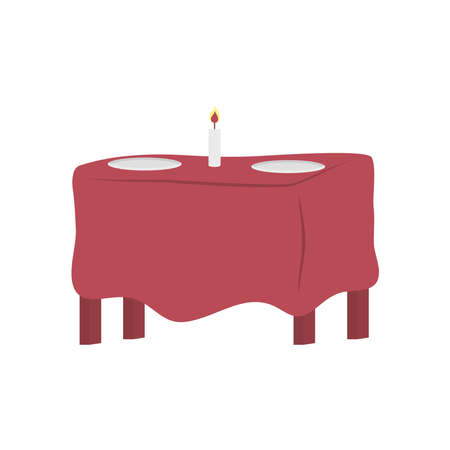 table with candle and plates design, Home room decoration interior living building apartment and residential theme Vector illustration
