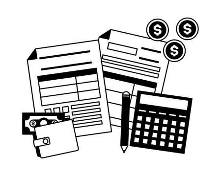 tax payment document calculator wallet money vector illustration