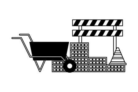 wheelbarrow wall brick barricade construction equipment vector illustration