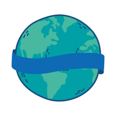 world planet earth with ribbon frame vector illustration design