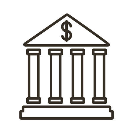 bank building line style icon vector illustration design