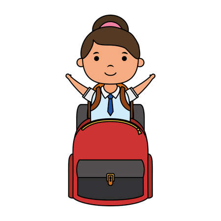 cute little student girl with schoolbag character vector illustration design Vectores